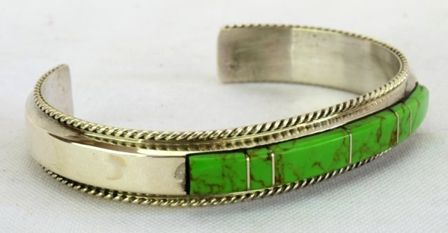 Native American Sterling Gaspeite Inlay Bracelet - 3