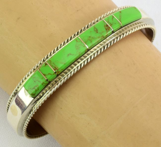 Native American Sterling Gaspeite Inlay Bracelet - 4