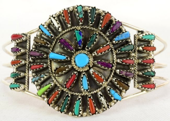 Navajo Sterling Silver Multi-Stone Cuff Bracelet - 2