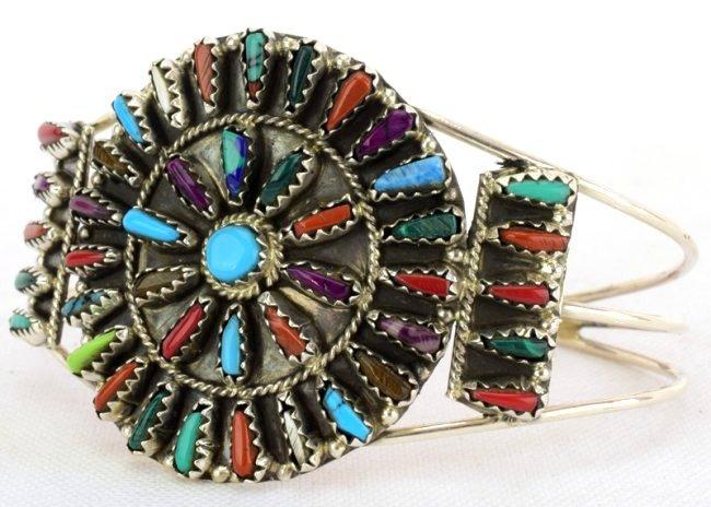 Navajo Sterling Silver Multi-Stone Cuff Bracelet - 3