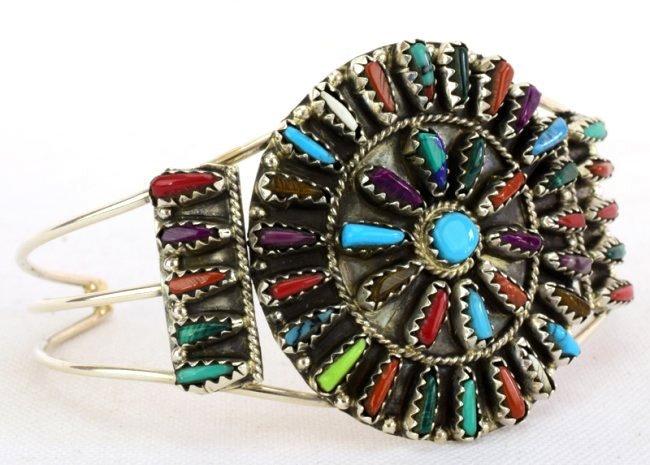 Navajo Sterling Silver Multi-Stone Cuff Bracelet - 4