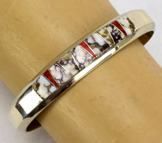 Navajo Sterling Wild Horse Turquoise Inlay Bracelet