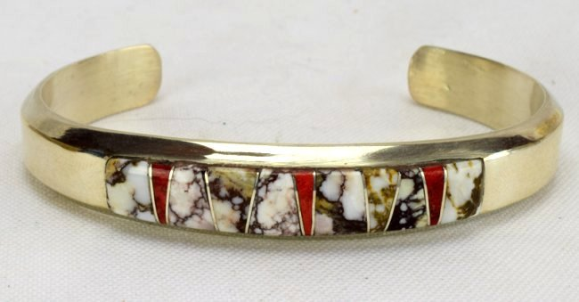Navajo Sterling Wild Horse Turquoise Inlay Bracelet - 2
