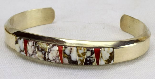 Navajo Sterling Wild Horse Turquoise Inlay Bracelet - 3
