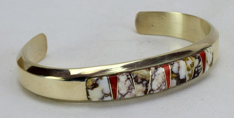 Navajo Sterling Wild Horse Turquoise Inlay Bracelet - 4