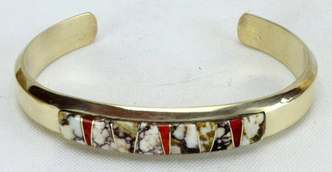 Navajo Sterling Wild Horse Turquoise Inlay Bracelet - 5