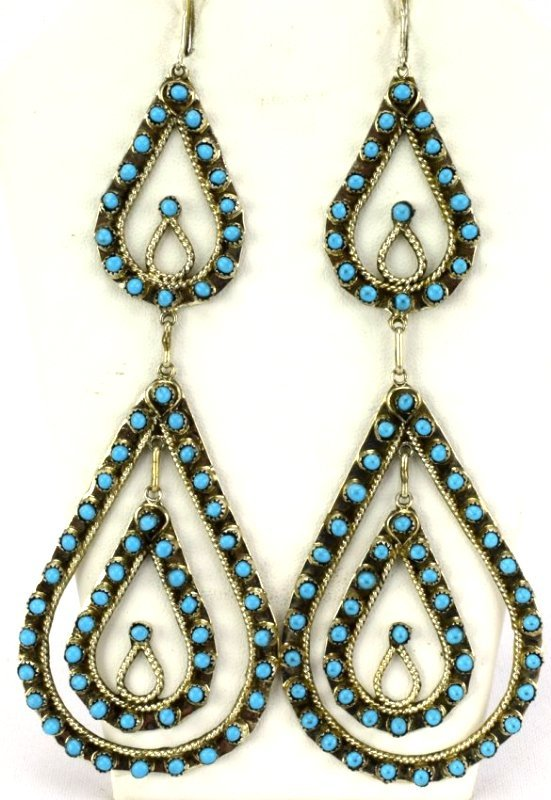 Zuni Sterling Silver Statement Turquoise Earrings