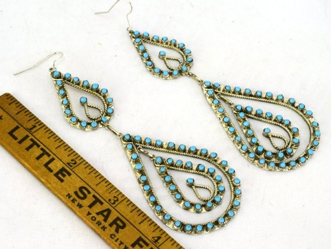 Zuni Sterling Silver Statement Turquoise Earrings - 2