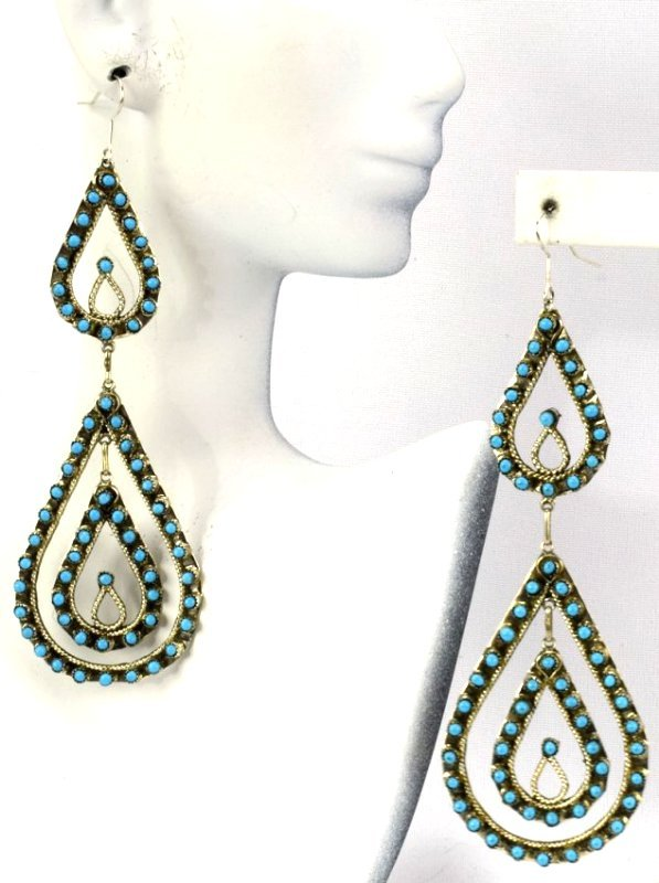 Zuni Sterling Silver Statement Turquoise Earrings - 3