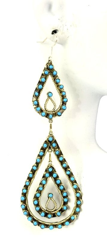 Zuni Sterling Silver Statement Turquoise Earrings - 4
