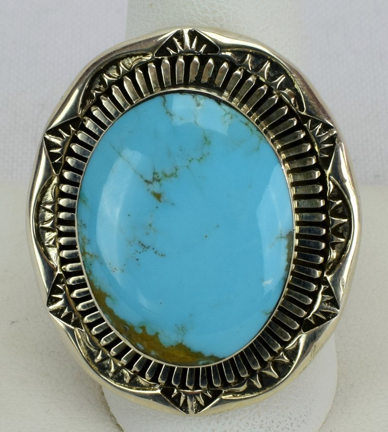 Native American Sterling Natural Turquoise Ring - 2