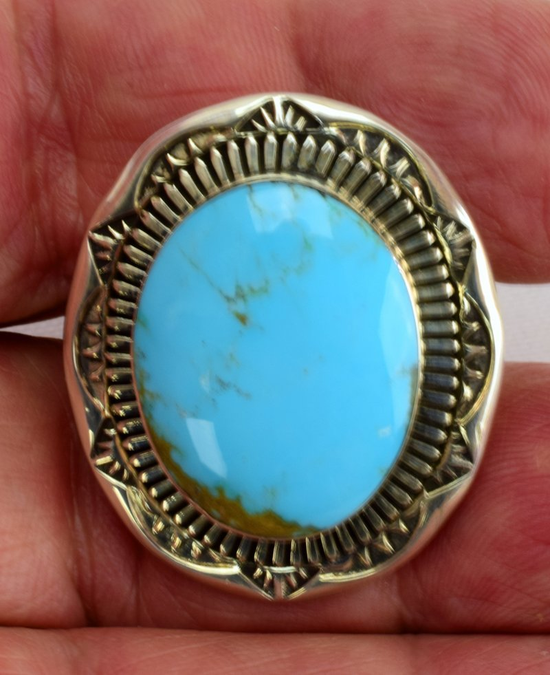 Native American Sterling Natural Turquoise Ring - 5