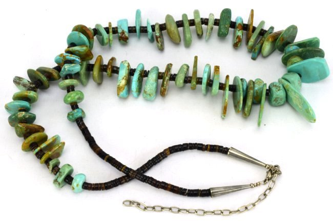 Navajo Old Pawn Turquoise & Heishi Bead Long Necklace