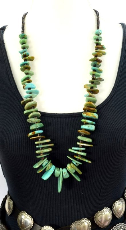 Navajo Old Pawn Turquoise & Heishi Bead Long Necklace - 3