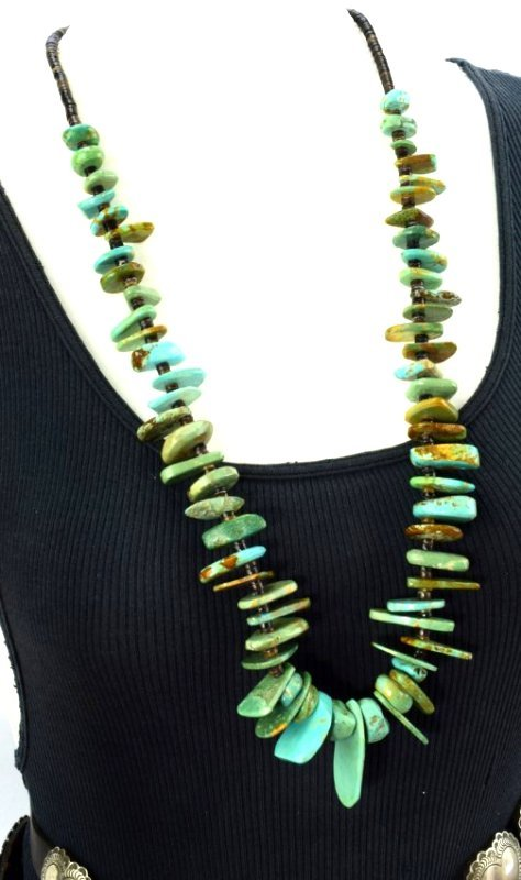 Navajo Old Pawn Turquoise & Heishi Bead Long Necklace - 4