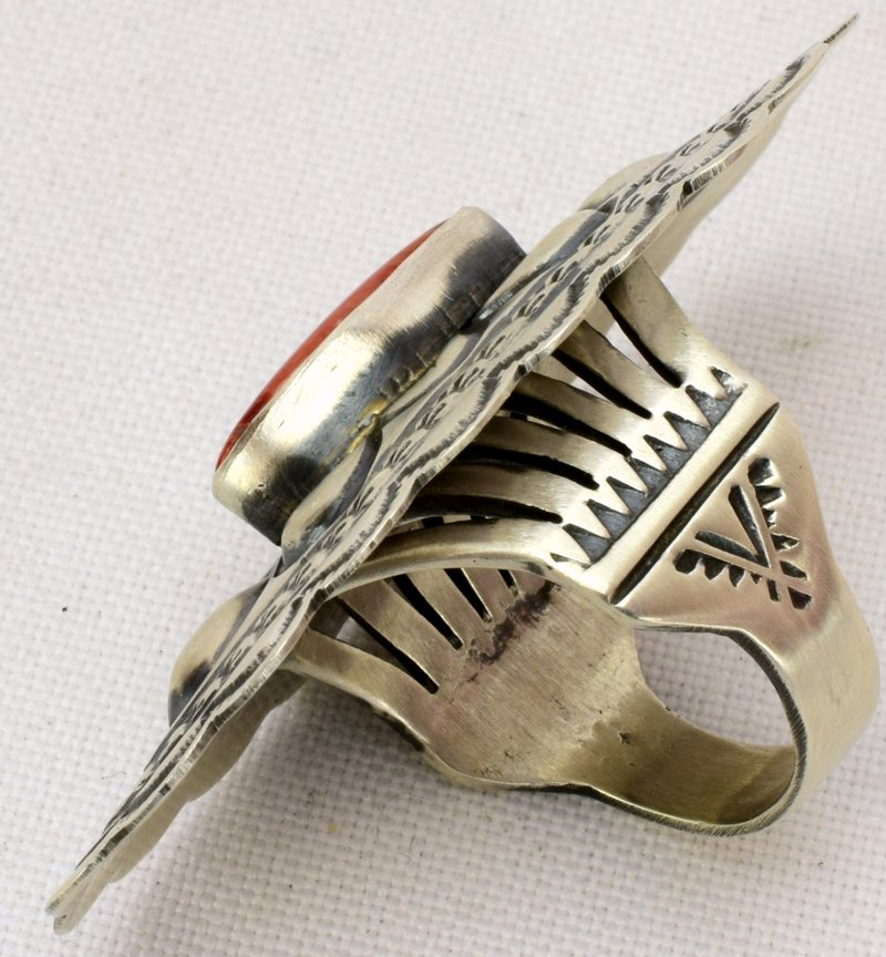 Navajo Sterling Silver Repousse Concho Style Ring - 4