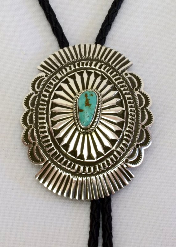Native American Sterling Concho Bolo Tie w/Turquoise
