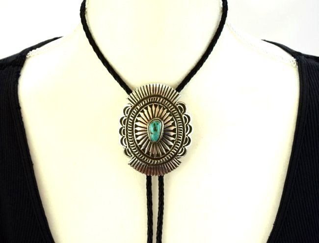 Native American Sterling Concho Bolo Tie w/Turquoise - 4