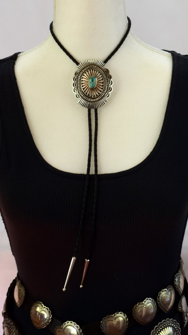 Native American Sterling Concho Bolo Tie w/Turquoise - 5