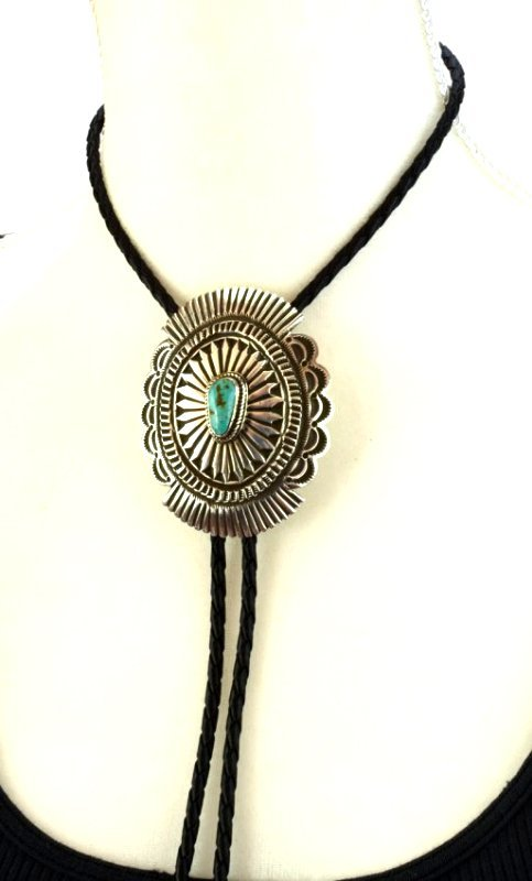 Native American Sterling Concho Bolo Tie w/Turquoise - 6