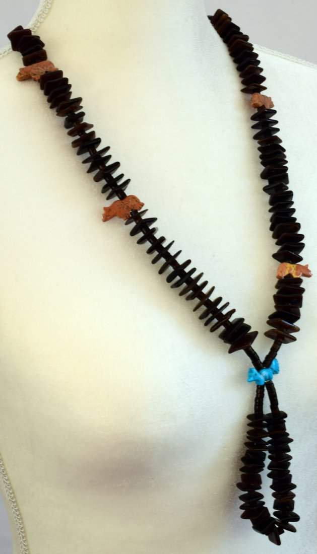 Zuni Tortoise Shell Beads with Fetishes and Jockla - 2