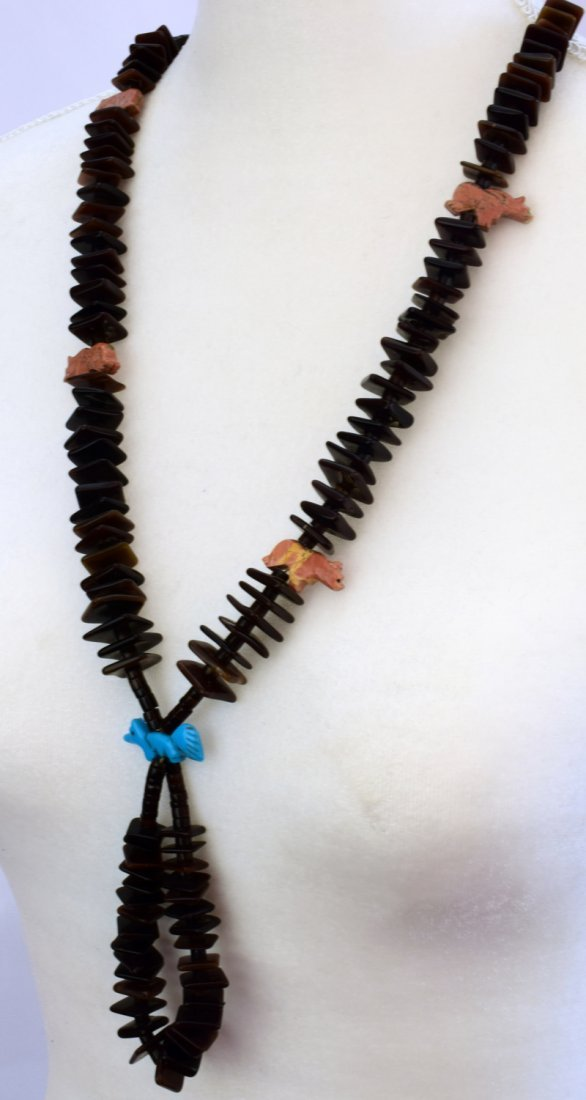 Zuni Tortoise Shell Beads with Fetishes and Jockla - 3