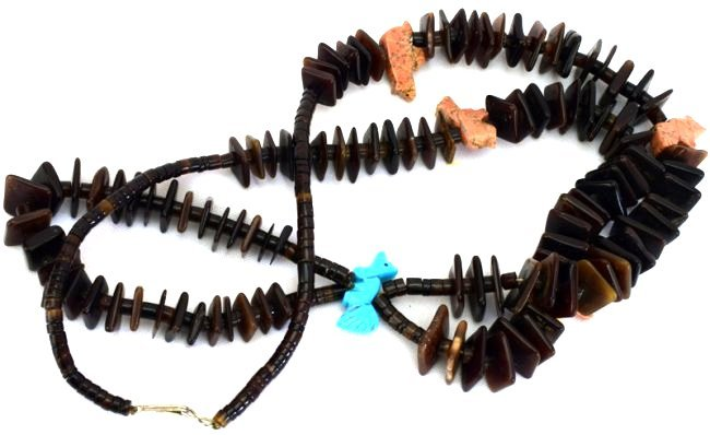 Zuni Tortoise Shell Beads with Fetishes and Jockla - 5