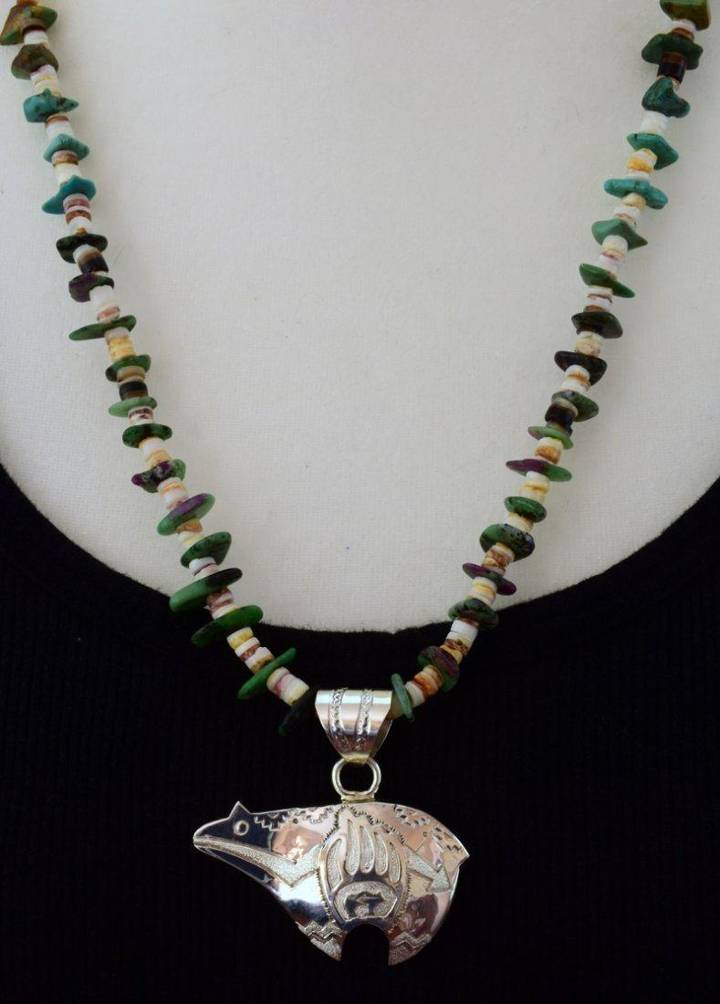 Navajo Sterling Silver Heartline Bear Pendant - 5