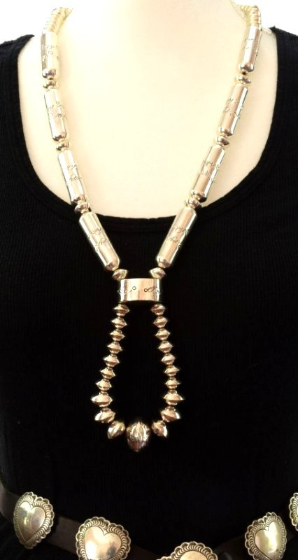 Sterling Navajo Tubule Necklace Set w/Jacla - 5