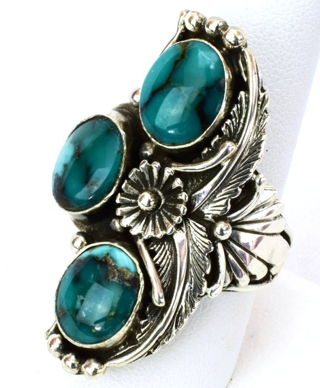 Navajo Sterling Silver Natural Turquoise Ring - 2