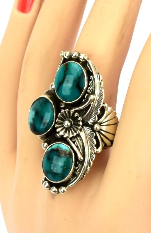 Navajo Sterling Silver Natural Turquoise Ring - 4
