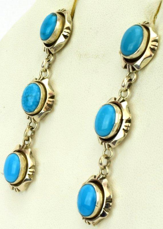 Navajo Sterling Sleeping Beauty Turquoise Earrings - 2