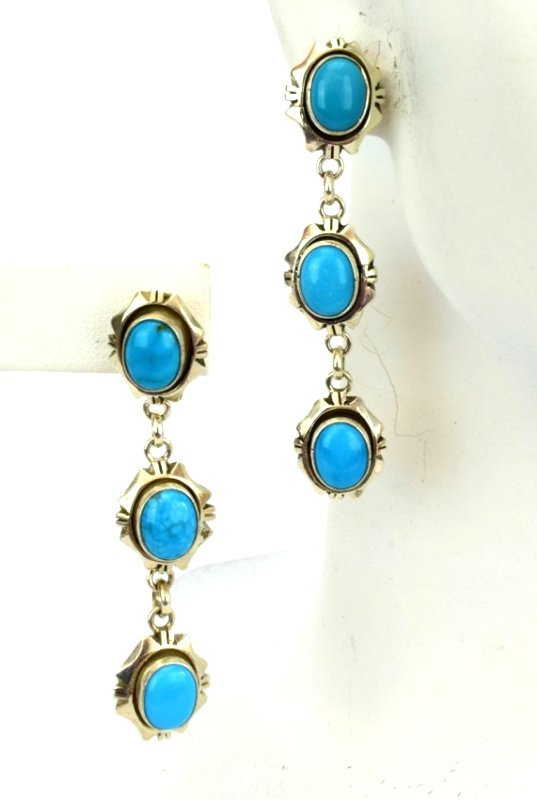 Navajo Sterling Sleeping Beauty Turquoise Earrings - 4