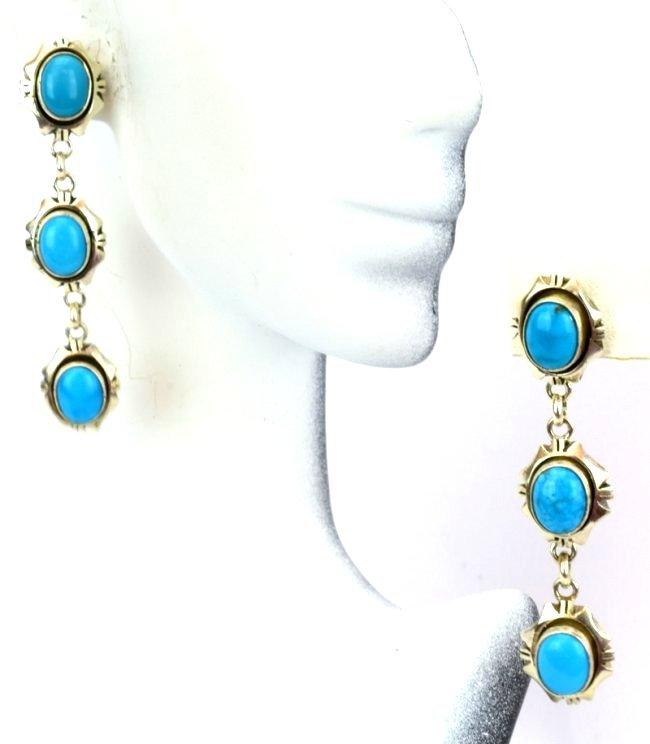 Navajo Sterling Sleeping Beauty Turquoise Earrings - 5