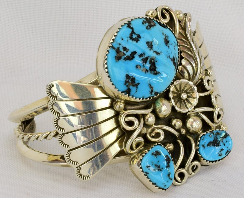 Native American Sterling Silver Turquoise Nugget Cuff - 2
