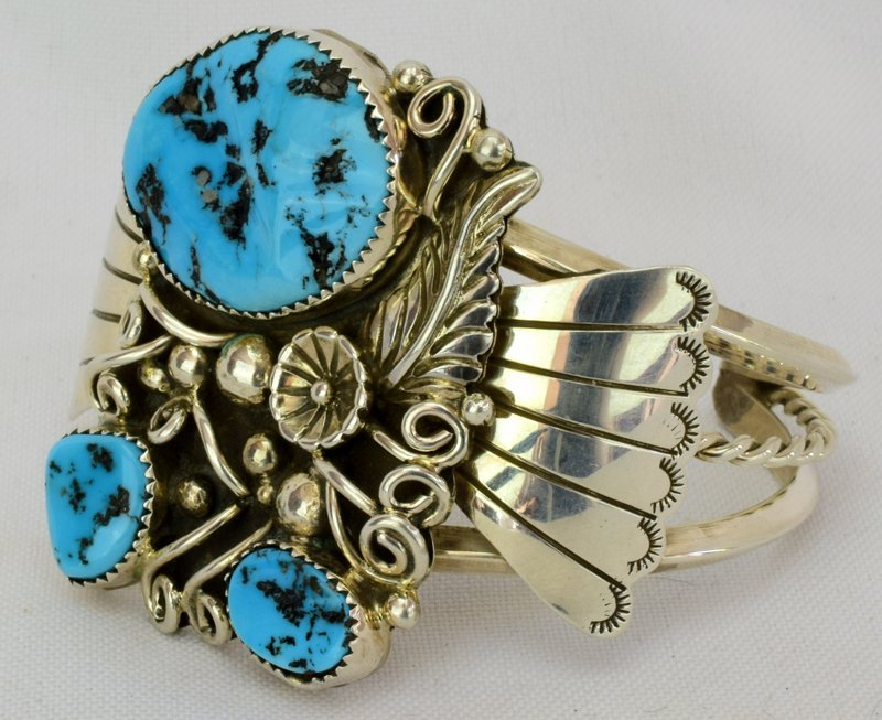Native American Sterling Silver Turquoise Nugget Cuff - 3