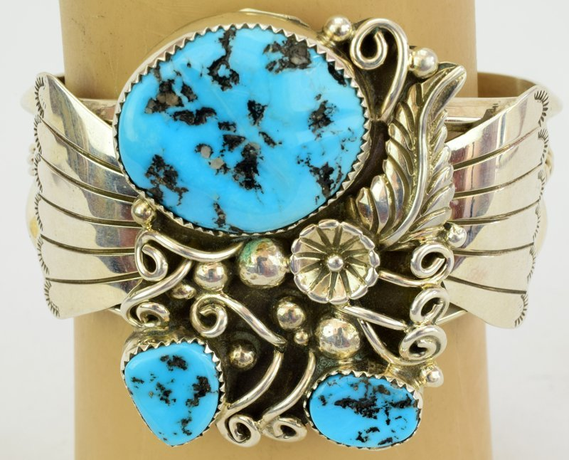 Native American Sterling Silver Turquoise Nugget Cuff - 4