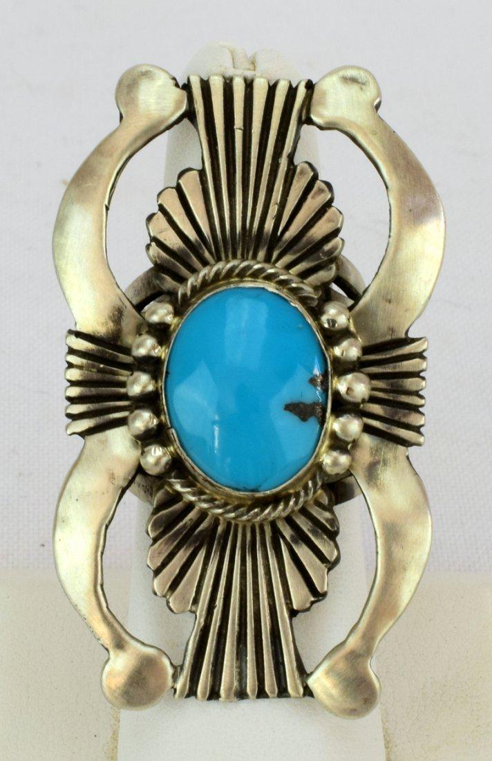 Navajo Sterling Silver Double Naja Ring w/Turq.