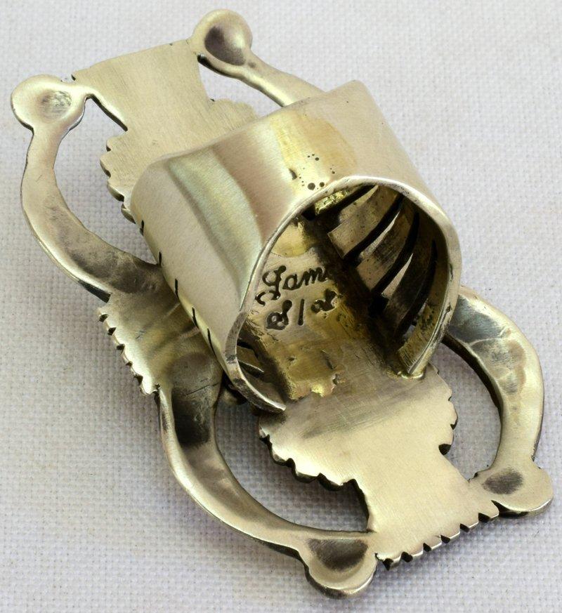 Navajo Sterling Silver Double Naja Ring w/Turq. - 2
