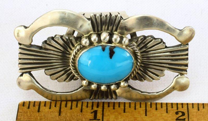 Navajo Sterling Silver Double Naja Ring w/Turq. - 5