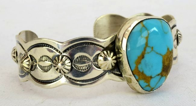 Navajo Chimney Butte Turquoise Cuff Bracelet - 3