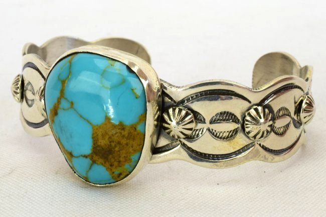 Navajo Chimney Butte Turquoise Cuff Bracelet - 4