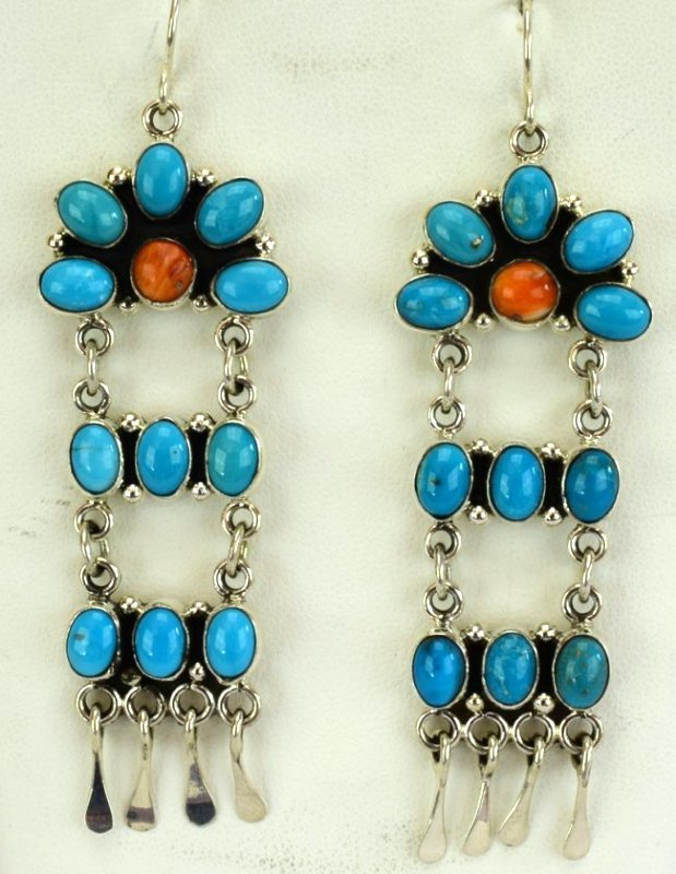 Navajo Sterling Turquoise & Spiny Oyster Earrings