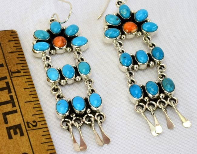 Navajo Sterling Turquoise & Spiny Oyster Earrings - 2