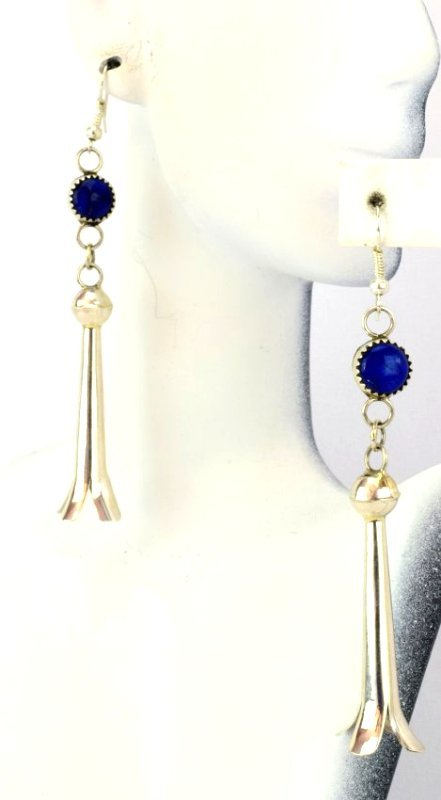 Navajo Sterling Silver Blossom Earrings with Lapis - 2