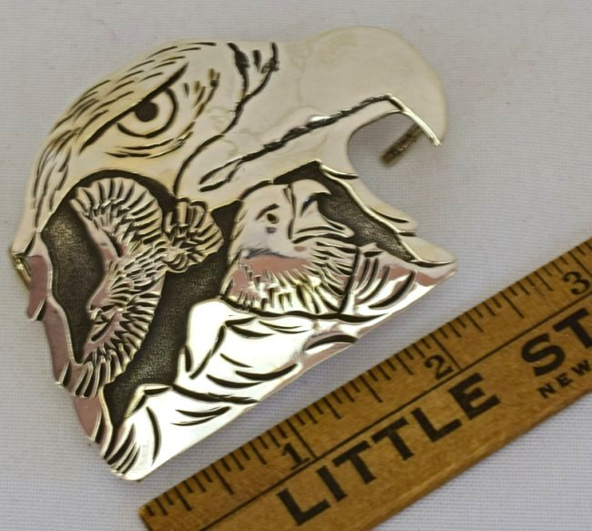 Navajo hand made Eagle Belt Buckle- L. Becenti - 2