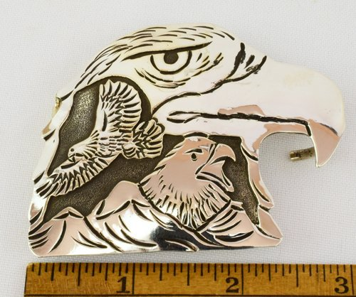 Navajo hand made Eagle Belt Buckle- L. Becenti - 4