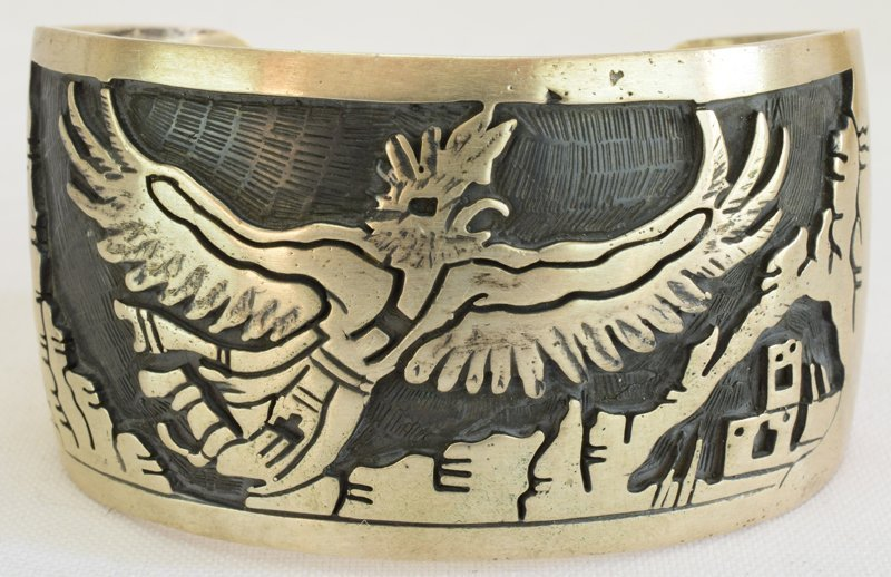 Hopi Sterling Silver Eagle Dancer Cuff Bracelet