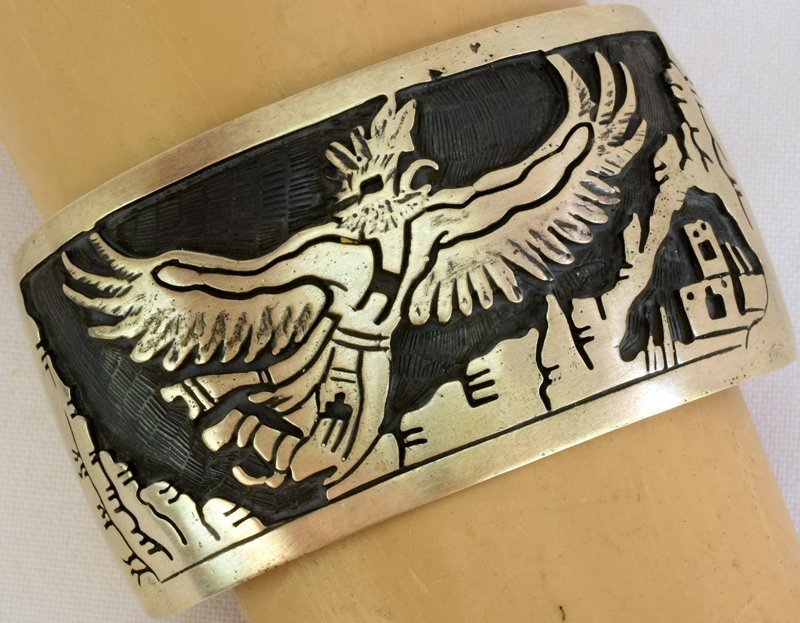 Hopi Sterling Silver Eagle Dancer Cuff Bracelet - 2