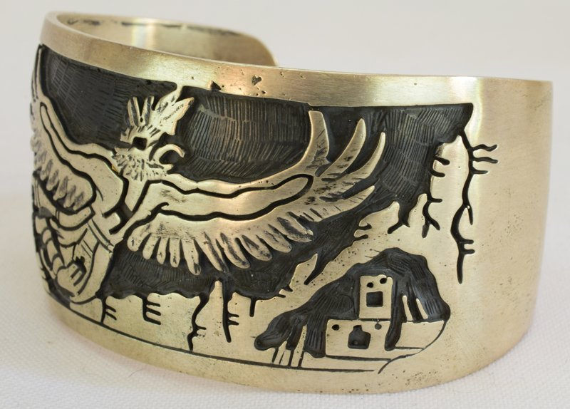 Hopi Sterling Silver Eagle Dancer Cuff Bracelet - 5